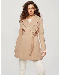 Miss Selfridge Wrap Coat - Brown