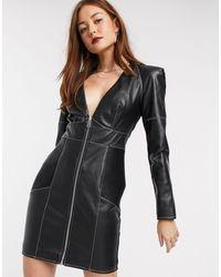 River Island Faux Leather Zip Front Biker Bodycon Dress - Black
