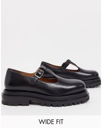 ASOS Wide Fit Mischief Premium Leather Chunky Mary Janes - Black