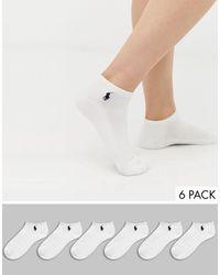 Polo Ralph Lauren Набор Из 6 Пар Белых Спортивных Носков С Уплотненной Подошвой -белый