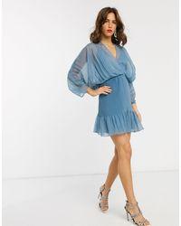ASOS - Mixed Pleat Dome Sleeve Mini Dress-blue - Lyst
