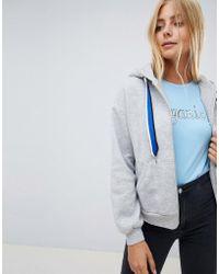 Bershka - Zip Up Hoodie In Grey - Lyst