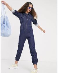Monki Day Long Sleeve Denim Jumpsuit - Blue