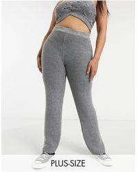 Skylar Rose Plus Knitted Wide Leg Trousers - Grey