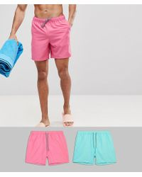 ASOS - Swim Shorts In Pink & Turquoise Mid Length 2 Pack Save - Lyst