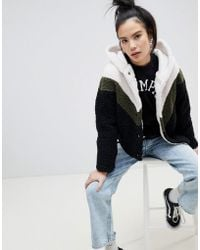 Pull&Bear - Chevron Hooded Fluffy Cardi - Lyst
