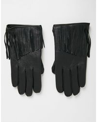 ASOS Черные Кожаные Перчатки С Кисточками - Черный