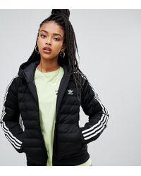adidas Originals - Three Stripe Padded Jacket In Black - Lyst
