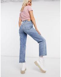 Monki Zami - jean court droit à taille super haute - vintage - Bleu