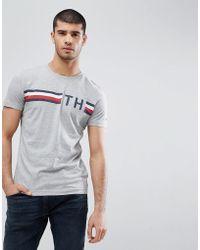 Tommy Hilfiger | Icon Stripe Th Logo T-shirt In Gray Marl | Lyst