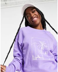 adidas Originals Boyfriend Fit Graphic Print Sweatshirt - Purple