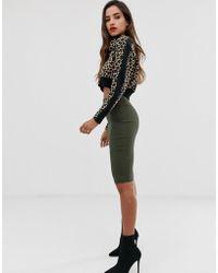 b96de61fa Falda de tubo con cintura alta - Verde