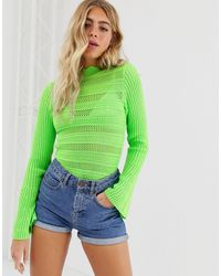 ASOS Flared Sleeve Stitch Detail Sweater - Green