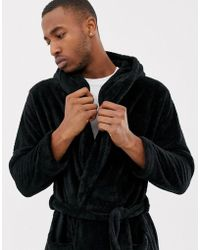ASOS - Fluffy Hooded Dressing Gown In Black - Lyst