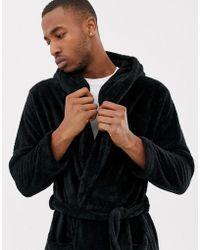 91b61b812f ASOS - Fluffy Hooded Dressing Gown In Black - Lyst