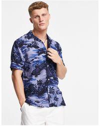 Tommy Hilfiger - Синяя Рубашка С Короткими Рукавами, Отложным Воротником И Гавайским Принтом -голубой - Lyst