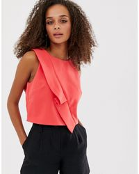 Oasis Crop Top With Frill - Red