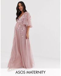 ASOS Сетчатое Платье Макси С Рукавами Клеш И Вышивкой - Розовый
