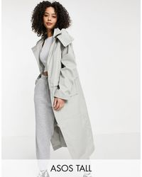 ASOS Asos Design Tall Double Layer Parka Coat - Grey