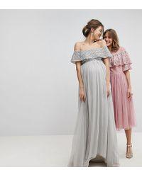 Maya Maternity Bardot Sequin Top Tulle Detail Dress With High Low Hem - Grey