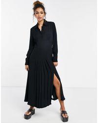 Ghost Черное Платье С Длинными Рукавами И Разрезом По Бокам Claudette-черный Цвет