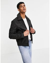 Barneys Originals Barney's Borg Collar Leather Jacket - Black