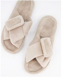 ASOS Zine Fur Slider Slippers With Buckle - Natural
