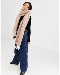 ASOS - Fluffy Two Tone Long Scarf With Tassels - Lyst