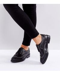 ASOS - Monterey Wide Fit Leather Studded Flat Shoes - Lyst