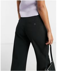 Bershka Slouchy Dad Wide Leg Tailored Trousers - Black