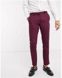Moss Bros Moss London Slim Fit Herringbone Suit Trousers - Red