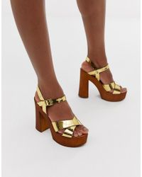 ASOS - Translate Heeled Sandals In Gold - Lyst