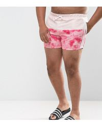 ASOS - Plus Festival Swim Shorts With Pink Tie Dye Panel And Side Stripes In Short Length - Lyst