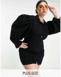 Missguided - Черное Платье-рубашка С Пышными Рукавами -черный Цвет - Lyst