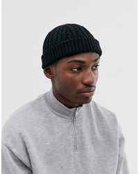 ASOS Petit bonnet style marin en maille torsadée de polyester recyclé - Noir
