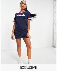 Fila Large Chest Logo T-shirt Dress - Blue