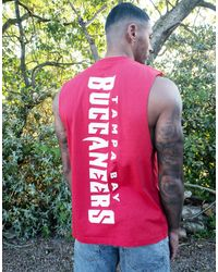 ASOS Nfl Relaxed Sleeveless T-shirt With Tampa Bay Buccaneers Chest Embroidery And Spine Print - Red