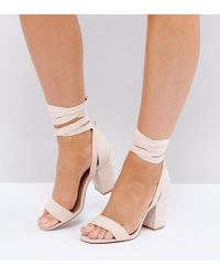 ASOS - Wide Fit Howling Tie Leg Heeled Sandals - Lyst