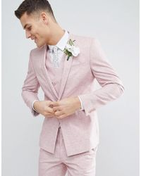 ASOS - Design Wedding Skinny Suit Jacket In Pink Cross Hatch With Printed Lining - Lyst
