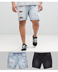 ASOS - Plus Denim Shorts In Slim Washed Black & Light Wash With Heavy Rips - Lyst
