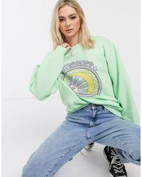 Daisy Street Oversized Sweatshirt Met Print - Groen