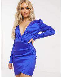 Naanaa Satin Long Sleeve Wrap Dress - Blue