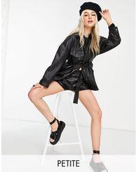 TOPSHOP Petite Faux Leather Tie Jacket - Black
