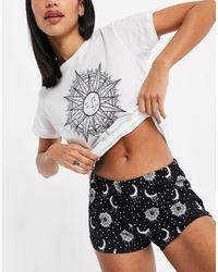 Brave Soul T-shirt And Shorts Pajama Set - Black