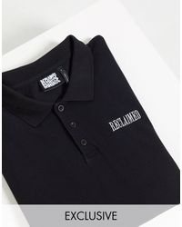 Reclaimed (vintage) Inspired Long Sleeve Rugby Top - Black