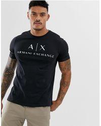 Armani Exchange T-shirt avec logo écrit - Noir