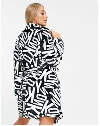 DKNY Cosy Logo Printed Gift Wrapped Robe - Black