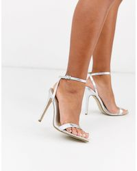 Missguided Pointed Toe Barely There Heeled Sandals - Metallic