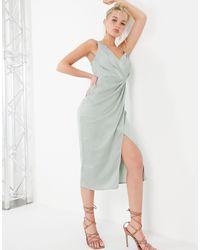 Little Mistress Satin Wrap Midi Dress - Green