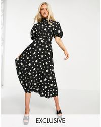 John Zack Exclusive Puff Sleeve Midi Dress With Open Back Detail - Black